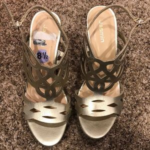 Jasmine Shoes - Cute gold Wedge Sandals.